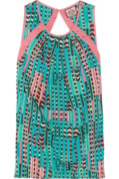 Printed cotton and silk-voile tank