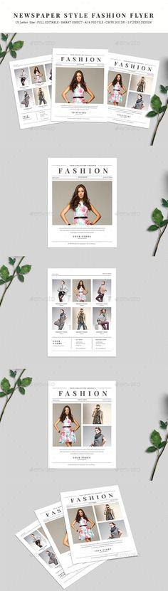 Newspaper Style Fashion Flyer — Photoshop PSD #sale #lookbook • Download ➝ https://graphicriver.net/item/newspaper-style-fashion-flyer/19560313?ref=pxcr
