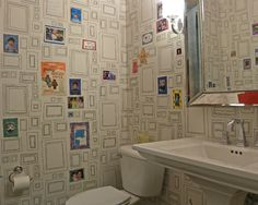 If I want to go cutesey, this is a great idea for wall covering! Powder Room Design, Pictures, Remodel, Decor and Ideas - page 33