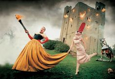 Alexander McQueen and Isabella Blow, photographed by David LaChapelle for Vanity Fair's March 1997 issue, at Hedingham Castle, England., Photograph by David LaChapelle.