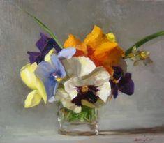 """Sarah Lamb, """"Pansies"""", oil"""