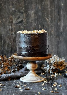 chocolate walnuts marzipan cake