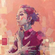 """'Across the fragrant bridge' by Izumi Kogahara Abstract Portrait, Portrait Art, Portraits, Figure Painting, Painting & Drawing, Painting Inspiration, Art Inspo, Guache, Anime Comics"