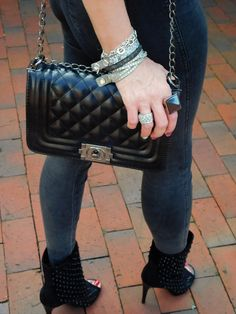 SHADES OF K by Karen  How to mix and match jewellery. stacked bracelets, statement ring, black ankle boots, grey skinny jeans