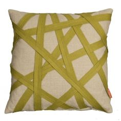 Linen Cushion With Green Felt Binding