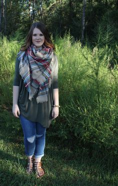 Perfect fall outfit! Pair our PIKO tops with a blanket scarf and Kendall skinny jeans! SHOPMADMARYS.com