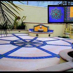 Stonelight Tile - San Jose, CA, United States. Health Center Courtyard and custom Fountain