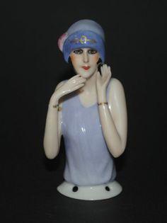 Antique Art Nouveau Half Woman Porcelain French Pin Cushion Blue White Victorian Periods & Styles Antiques