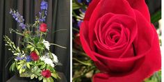 Something beautiful for your Fourth of JULY! This contemporary beauty got us in the mood even before the weekend with it's red roses, electric blue delphinium, blue thistle, white orchids and schefflera leaves. Take a moment to celebrate FREEDOM! #somethingbeautiful #flowers #wmbg #williamsburgva #lovewmbg