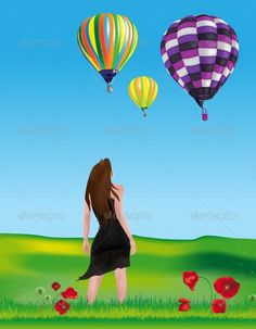 Girl Watching Hot-air Balloons  #GraphicRiver         Young Girl in the Countryside is Watching Hot-air Balloons Flying in the Sky. Colored with gradient mesh. EPS10 and AI10 with layers completely editable and high resolution JPG.     Created: 28January13 GraphicsFilesIncluded: JPGImage #VectorEPS #AIIllustrator Layered: No MinimumAdobeCSVersion: CS Tags: airtransport #background #countryside #environment #field #girl #grass #grassland #green #hills #hillside #hot-airballoons #inspirational…