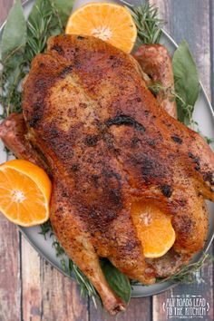 This whole roasted duck scented with oranges and herbs makes a beautiful and delicious holiday entree that is both simple and impressive. Turkey Recipes, Meat Recipes, Chicken Recipes, Dinner Recipes, Cooking Recipes, Game Recipes, Dinner Ideas, Healthy Recipes, Whole Duck Recipes