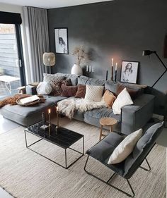 Stylish and cozy interior located in Netherlands.Photo courtesy … credit Stylish and cozy interior located in Netherlands. Cozy Living Rooms, Living Room Grey, Home Living Room, Interior Design Living Room, Living Room Designs, Scandinavian Interior Living Room, Scandinavian Style, Cosy Living Room Decor, Apartment Living Rooms