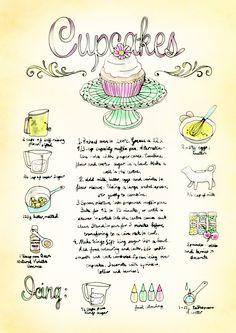 Cupcake recipe, illustrated by Bec Winnel for Element Eden. www.elementeden.com