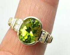 Women's 14k Gold Peridot and Diamond Ring #PeridotRing #Cocktail