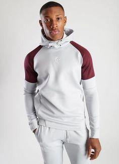 GK Core Plus Contrast Poly Tracksuit Microchip Burgundy White Grey Sweatshirt, Black Hoodie, Track Suit Men, Tracksuit Tops, Mens Style Guide, Lifestyle Clothing, Gentleman Style, Style Guides, Contrast