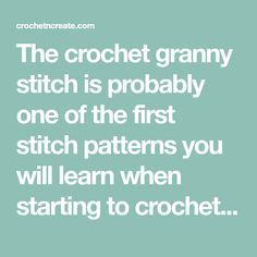 The crochet granny stitch is probably one of the first stitch patterns you will learn when starting to crochet, the stitch is normally used for squares ..... Easy Crochet Blanket, Crochet For Beginners Blanket, Crochet Blanket Patterns, Stitch Patterns, Crochet Blankets, Crochet Ideas, Crochet Projects, Crochet Stitches Free, Granny Square Crochet Pattern