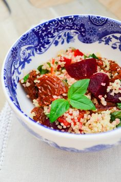 A colourful couscous salad with roasted red peppers, sundried tomatoes, capers and baby beets as well as a few added ingredients for extra flavour and tips on achieving the easiest fluffy couscous.