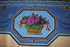 Antique FRENCH WALLPAPER Borders baskets of flowers, wallpaper borders of French origin, dating early French Wallpaper, Vintage Enamelware, Tea Stains, Flower Basket, Vintage Walls, Blue Backgrounds, French Antiques, Wallpaper Borders, Interior Decorating