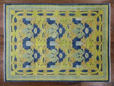 Hand Knotted Wool 9'X12' Blue Peshawar Art Deco Rug MC236  US $4,893.75 New with tags in Home & Garden, Rugs & Carpets, Area Rugs