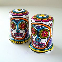Sugar Skull Salt and Pepper Shakers Hand Painted Ceramic Day of the ...