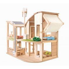 Plantoys® Puppenhaus Öko aus Holz möbliert im Online Shop – KidsWoodLove
