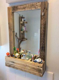 Rustic Bathroom Mirror made from reclaimed pallet wood Pallet Mirror Frame, Pallet Frames, Wood Framed Mirror, Mirror With Shelf, Rustic Bathroom Mirrors, Pallet Bathroom, Rustic Bathrooms, Bathroom Ideas, Rv Bathroom