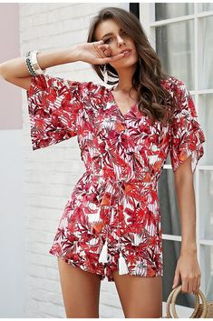 ded5328da2 Women s V-Neck Summer Romper With Print · Beach PlaysuitSummer  RomperRompers WomenJumpsuits ...