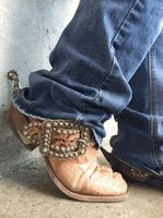 """""""Haywire"""" Bronze Croc Spur Straps with Antique Silver by Running Roan Tack"""