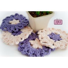 Crochet Purple Coasters, Mini Dishcloths, Set of 4, Flower Dishcloth,... ($21) ❤ liked on Polyvore featuring home, kitchen & dining, bar tools, purple coasters, cotton coasters and crochet coasters