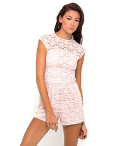 Motel Metro Cut Out Back Playsuit in Soft Pink Lace,