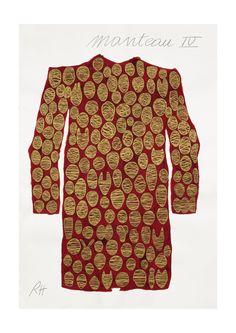 Manteau IV [ 2014 ] / Encre sur papier coton / 120 x 82 cm / Rose Holzer Dresses With Sleeves, Rose, Long Sleeve, Art, Fashion, Ink, Paper, Coats, Cotton
