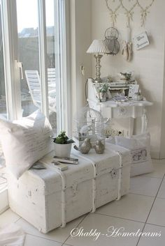 Cute corner with Trunk and Secretary Desk - Whitewashed Shabby Chic /French Country /Rustic Swedish decor idea