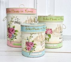 RUND BOKS Decoupage Tins, Decoupage Vintage, Tin Can Crafts, Diy And Crafts, Decorated Flower Pots, Metal Art Projects, Altered Bottles, Pretty Box, Tin Candles