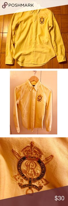 Ralph Lauren yellow button down shirt 💛👔💛🏵 Large emblem Ralph Lauren Sport 100% cotton button up shirt 📌size 12 (runs small so a 12 fits like a 10)  📌 if you are looking for a fitted shirt and you normally wear a size 8 (34c-dd) in shirts this will be a good fit  📌pretty yellow color, standout top 📌 large Ralph Lauren emblem sets off a classy look 📌 like new condition Ralph Lauren Tops Button Down Shirts