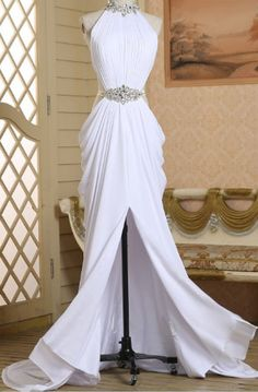 White Spandex Slit Beaded Sexy Evening Gown, Halter Party Dress Source by abbyprettydress da sera White Beaded Dress, Beaded Prom Dress, Dress Prom, Dress Wedding, Prom Party Dresses, Evening Dresses, White Evening Gowns, Pageant Dresses, Pretty Dresses