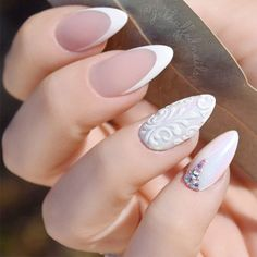 White Nails with Ornaments picture 3