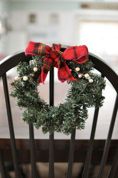 Love this super simple and affordable way to help dress up your Holiday table and chairs.