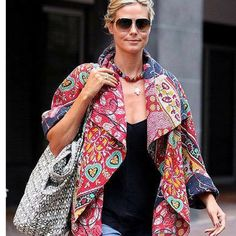 Heidi Klum in kantha jacket Kimono Vintage, Vintage Jacket, Vintage Cotton, Quilted Clothes, Sewing Clothes, Heidi Klum, Long Jackets, Jackets For Women, Casual Styles