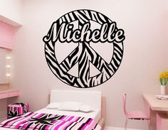 Zebra Print Peace Sign Wall Decor Alluring Zebra Stripe Peace Sign W Custom Text Vinyl Wall Decal Sticker Inspiration