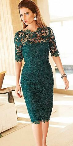 Gorgeous Lace Mother of the Bride Groom Dresses Sheath Column Teal Illusion Neckline Short Sleeves Cocktail Party Gowns Custom Made Petite Dresses, Trendy Dresses, Nice Dresses, Bridesmaid Dresses, Prom Dresses, Formal Dresses, Wedding Dresses, Lace Weddings, Dress Prom
