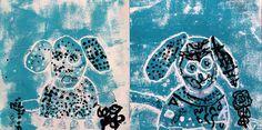 papier-druktechniek. Door karton of papier gelaagd op te brengen, wordt een lichaam, kop , staart,poten,oren, neus en ogen van de hond eerst (voor(geschetst, nagetekend en daarna uitgeknipt en opgeplakt met lijm. Een leuke druktechniek die ook voor jonge kinderen geschikt is. De honden krijgen vervolgens stippen door met zwarte drukinkt te stempelen. Deze mooie werken zijn gemaakt door twee kinderen van 5 en 6 jaar.