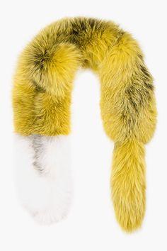 Marni Yellow Frost Fox Fur Stole