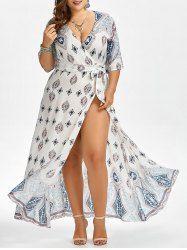 Printed Floor Length Plus Size Dress - WHITE 5XL Mobile