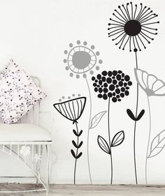 Beautiful Wall Flower Decal For Living Room, Dining Room or Office, Nature Flower Vinyl -Giardino Wall Painting Decor, Wall Decor, Mural Art, Wall Murals, Bedroom Murals, Bedroom Decor, Mural Floral, Inspiration Wall, Beautiful Wall