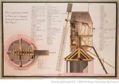 Section perpendiculaire du moulin des Verdiers (avec des changemens [sic]), exécuté près Guiseniers, dans la Vexin Normand ; Plan au niveau du plancher : Autor :Lequeu, Jean Jacques (1757-1825?). Dessinateur