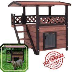 Two Tier Cat House Den Outdoor Wooden Pet Home Warm Weatherproof Garden Shelter
