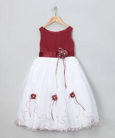 Take a look at this LA Sun Burgundy Flower Fluff Dress - Toddler & Girls by Festive Finery: Kids' Apparel on #zulily today!