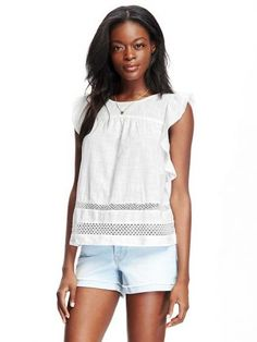 Old Navy Ruffle Sleeve Crochet Trim Swing Top For Women Size Tall – White Formal Tops, Casual Tops, Shoes Too Big, Big And Tall Outfits, She Is Clothed, Swing Top, Tall Guys, Tall Women, Crochet Trim