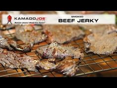 Beef Jerky is a great snack to have on hand and your Kamado Joe grill is capable of making great smoked jerky at temperatures in the range of with a. Kamado Grill, Kamado Joe, Smoker Recipes, Grilling Recipes, Kent Rollins, Smoked Beef Jerky, Joe Beef, Joe Recipe, Bar B Que