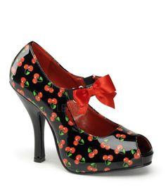 Pinup Couture Cutiepie Black Cherry Open Toe Platforms
